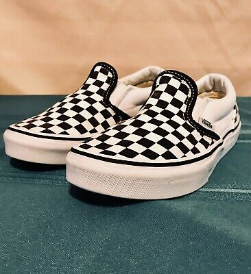 8fc70ce76c57e5 KIDS VANS OFF THE WALL  Slip On  Canvas Shoes black white checkered ...