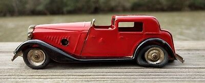 Tin Toy Car Tri-Ang Minic Red Limousine Wind-Up Vintage Original Paint
