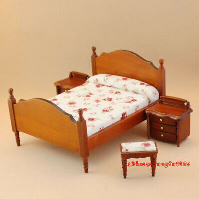 dollhouse miniatures furniture Lot 1:12 Double Bed Bedroom Set Night Stand