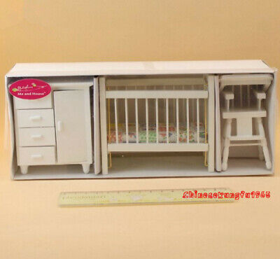 dollhouse miniatures furniture Lot Infant Crib set 1:12 High Chair Cabinets Baby