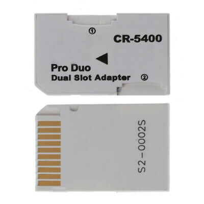 Easy Setup TF to Memory Stick MS Pro Duo PSP Dual 2 Slot Adapter