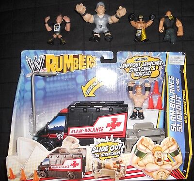 WWE Rumblers Slam-Bulance Slideout Playset with Sheamus & SDCC EXCLUSIVE Figures