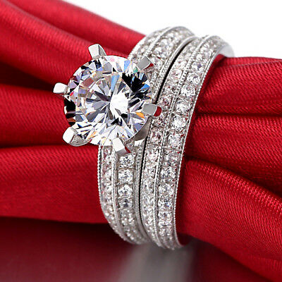 Diamond Bridal Set 14K White Gold Over Round Cut Solitaire Engagement Ring 2 Ct