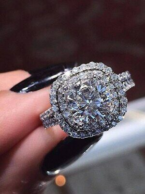 3 CT Signity Diamond Wedding Engagement Ring in 14K Solid White Gold Over