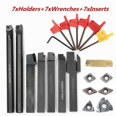 7 Set 12MM Lathe Turning Tool Holder Boring Bar+ 7 pcs Carbide Insert +