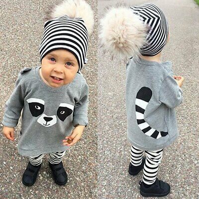 Comely Kids Baby Boy Cartoon Animal Print Top + Striped Pants Toddler Outfit