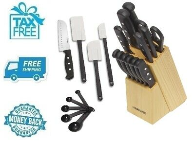 New 22pc Knife And Kitchen Tool Set Black Steak Knives Spatulas Measuring Spoon