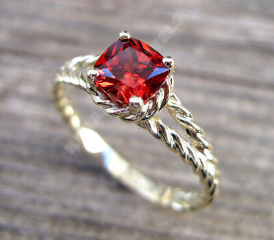 1.5 CT Split Shank 14k White Gold Over Cushion Cut Red Ruby Engagement Ring