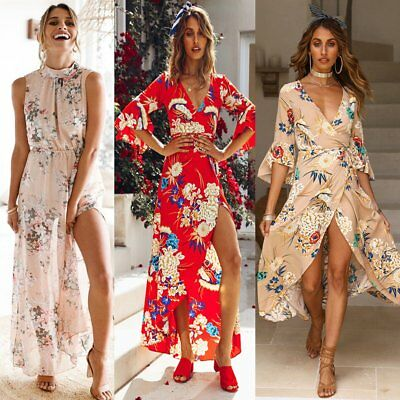 Women's Summer Boho Split Long Maxi Evening Cocktail Party Beach Dress Sundress