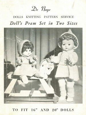 """VINTAGE KNITTING PATTERN COPY-TO KNIT DOLLS CLOTHES FOR 16 & 20"""" DOLLS 1950's -"""