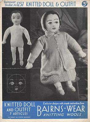 """VINTAGE KNITTING PATTERN COPY -TO KNIT DOLL & OUTFIT 1940's  - 20 1/2"""" DOLL"""