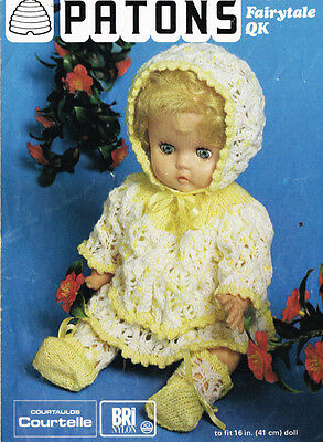 Vintage Knitting  Pattern Copy To  Knit Baby Doll Layette- Fits 16'' (41Cm) Doll