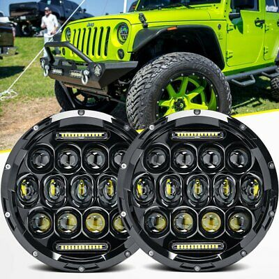"Pair 7"" inch Black For JEEP JK GQ PATROL Projector LED Headlight DRL Insert 80W"