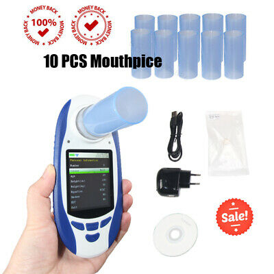 Color Digital Spirometer lung Volume Device+10 Mouthpieces+Software+USB+Clip