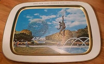 "New York World's Fair 1964-1965 Metal Unisphere Serving Tray Large 15.5"" X 21.5"""