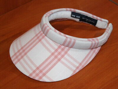 928f40b32a9 Authentic BURBERRY Golf Check Ladies Sun Visor Cap Hat pink