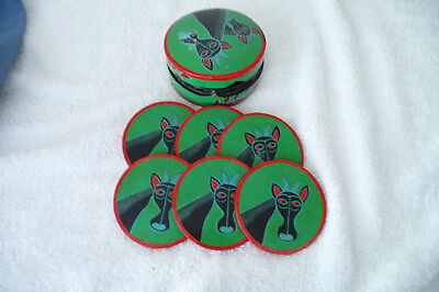 Vintage Colourful Boxed Set Paper Mache Hand Painted Coasters Giraffes C1970's