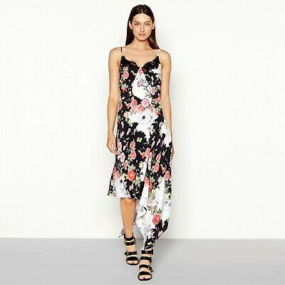 4051287d20d0 Studio by Preen Floral Print Lace Chiffon V-neck High Low Camisole Dress NEW