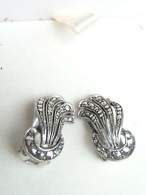Vintage Art Deco Sterling Silver Marcasite Clip On Earrings