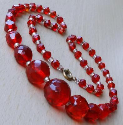 Vintage 50's Ruby Red Faceted Glass Beaded Necklace