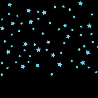 100X 3D Stars Glow In The Dark Luminous Fluorescent Wall Stickers Room Decor