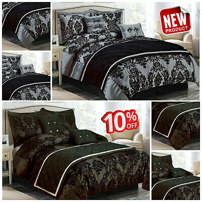 Black & Grey Duvet Cover With Pillow Cases Quilt Cover Double King S.King Size