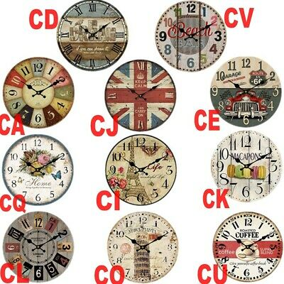 Large Vintage Wooden Wall Clock Shabby Chic Rustic Home Antique Style Xmas Gift