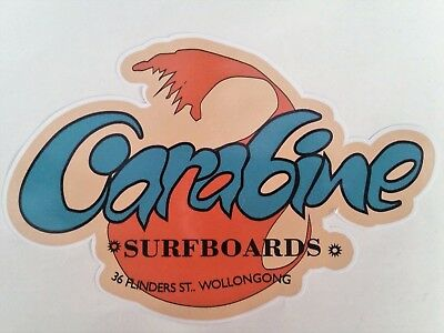 """CARABINE SURFBOARDS"" VINTAGE / RETRO Sticker Decal 1970s LONGBOARD SURFER SURF"