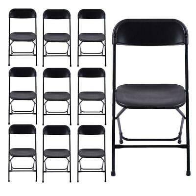 New Commercial Black Plastic Folding Chairs Stackable Picnic Party (Set of 10)