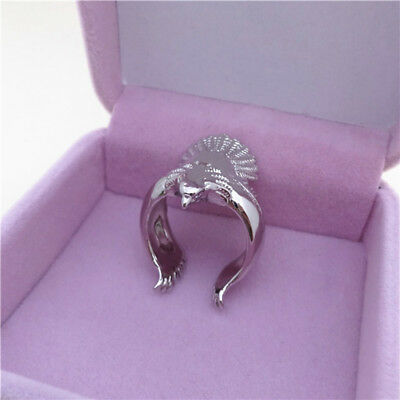 Unisex Full Eagle Bird Spread Wings Open Adjustable Band Ring Jewelry LH