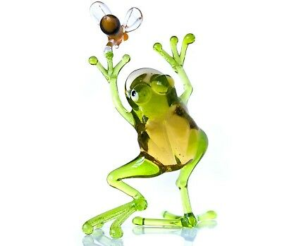 "Clear Green Frog Figurine Blown Glass ""Murano"" Art Animal Reptile Sculpture"