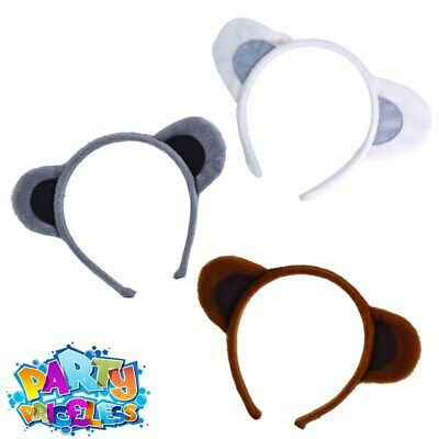 Kids Animal Ears Headband Dog Mouse Bear Fancy Dress Costume Accessory Book Day