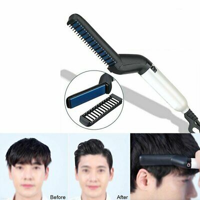 Quick Beard Straightener Multifunctional Hair Comb Curling Curler Show Cap Men #