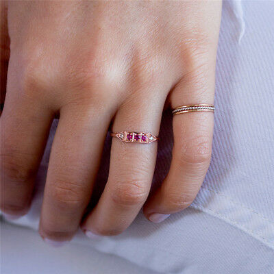 Female Triple Ruby Champagne Rhinestone Can Stackable Single Wearing Ring Gift L