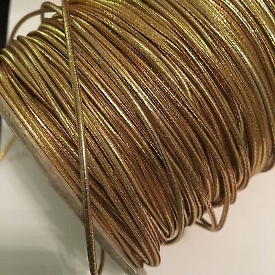 Reflective Gold Metallic Shirring Elastic 2mm Bead Elastic X 5 Metres
