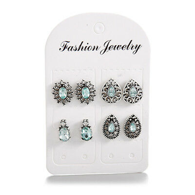 4 Pairs Womens Earrings Imitation Crystal Stud Bohemian Inspired Jewelry LH
