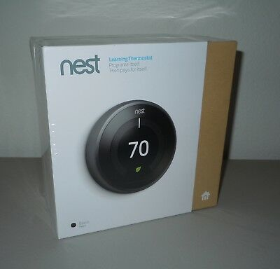 NEST 3rd Generation Black Learning Thermostat NIP T3016US