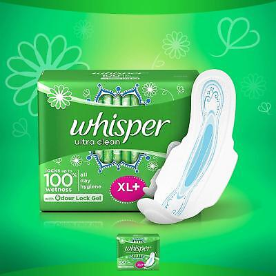 Sanitary Pads WHISPER Ultra Clean - 44 Pieces (XL Plus) With Odor Lock Gel GJ