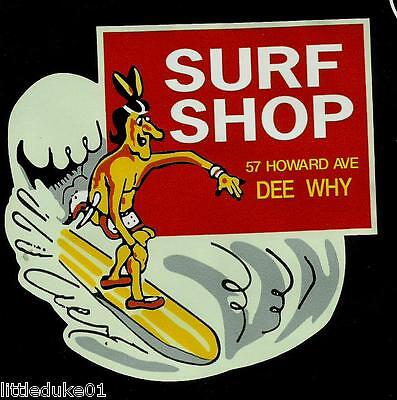 """THE SURF SHOP DEE WHY AUSTRALIA 1960s Sticker Decal LONGBOARD Surfing Surfboard"