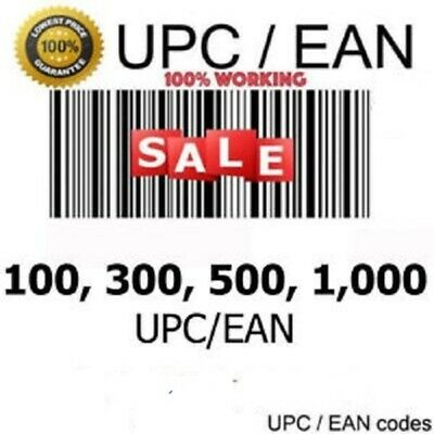 1000 UPC EAN Codes Barcode Numbers For Listing Any E-Commerce Sites Us Uk Eu