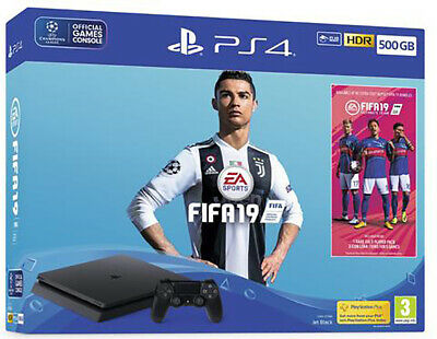 Sony Ps4 Console 500 Gb F Chassis Slim Black + Fifa 19