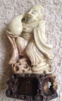 Priest/God With Attendant Chinese Early 20Th Century White Soapstone Carving