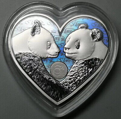 China 2019 Happy Valentine's Day Heart Love Panda Silver Medal 25g