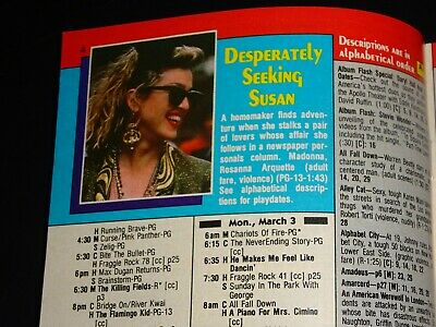 MADONNA DESPERATELY SEEKING Susan Movie Premium Cable Channels Guide
