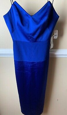abs allen schwartz Dress Size 10 Corset Satin Royal Blue Strapless
