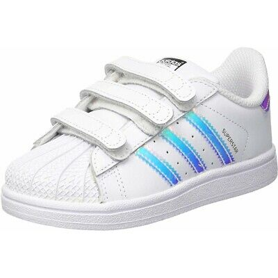 06211a6825a4 adidas Originals Superstar CF I White Iridescent Leather Infant Trainers