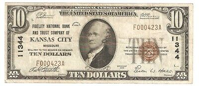 $10.00 Circulated 1929 NATIONAL BANK NOTE Kansas City, MO. Type 1 Charter #11344