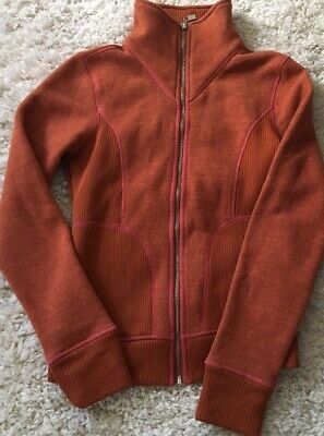 866ece4c174cc6 Prana Womens Orange PinK Sweater Full Zip High Neck Long Sleeve Jacket Size  Med