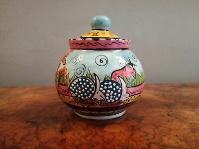 Penzo Sugar Bowl with Guinea Fowl Zimbabwe Pottery Ceramic Hand Painted 1998/9