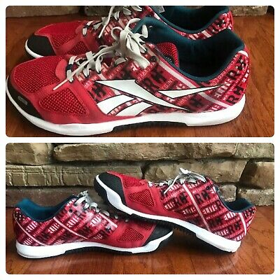 19728cb9ef41ac MENS REEBOK CROSSFIT NANO 2.0 SNEAKERS Size 13 Red White Spellout V51722
